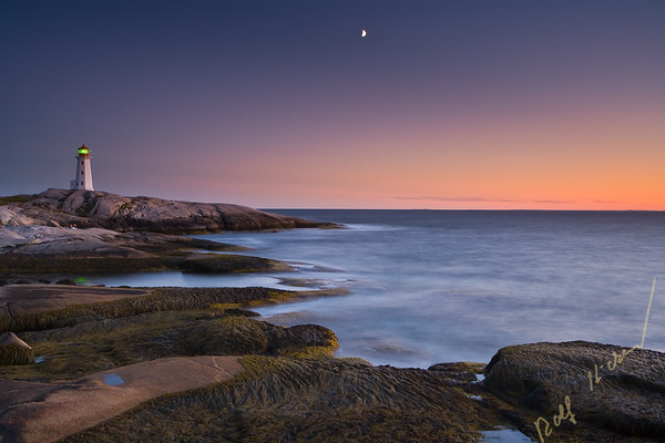 Peggy's Cove Ligthhouse and moon at sunset, Peggy's Cove, St Margarets Bay, Lighthouse Route, Highway 333, Nova Scotia, Canada.