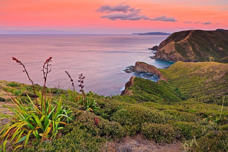 Sunset at shoreline of Cape Reinga, Aupouri Peninsula, Northland, North Island, New Zealand.