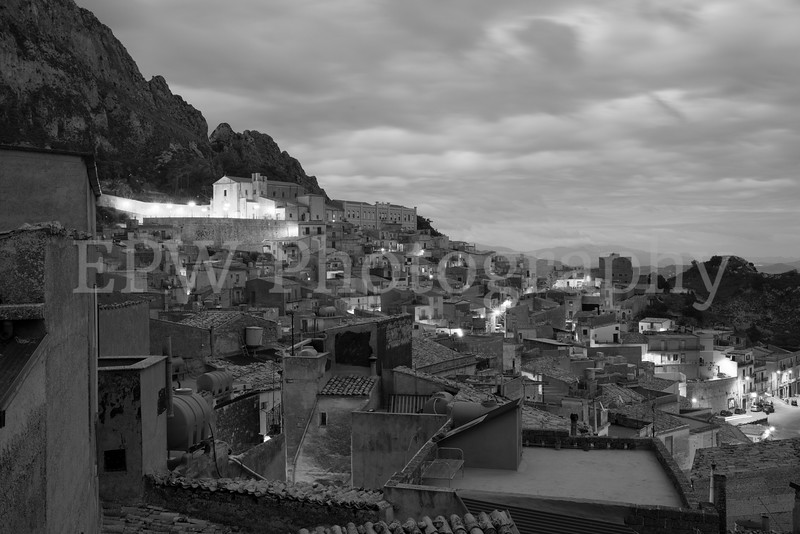 Caltabellota Rooftops in Black & White