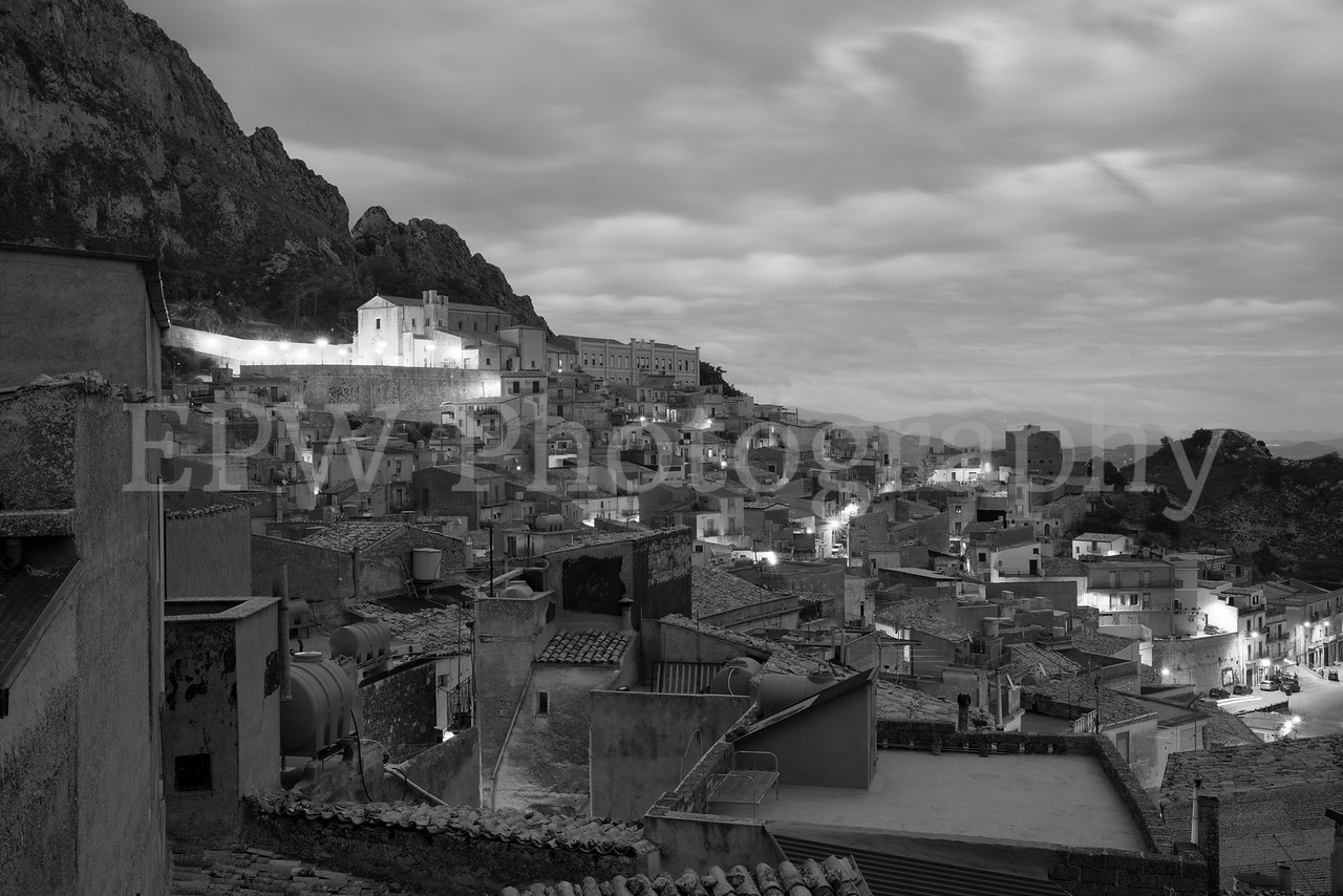 Caltabellota Rooftops in Black & White