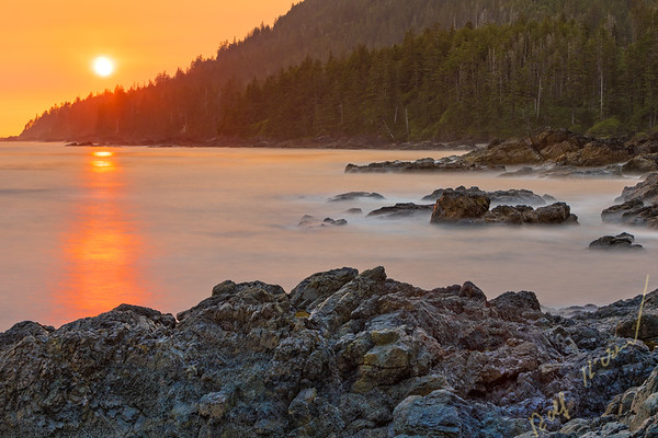 Sunset at Cape Palmerston on Cape Scott on Northern Vancouver Island, British Columbia, Canada.