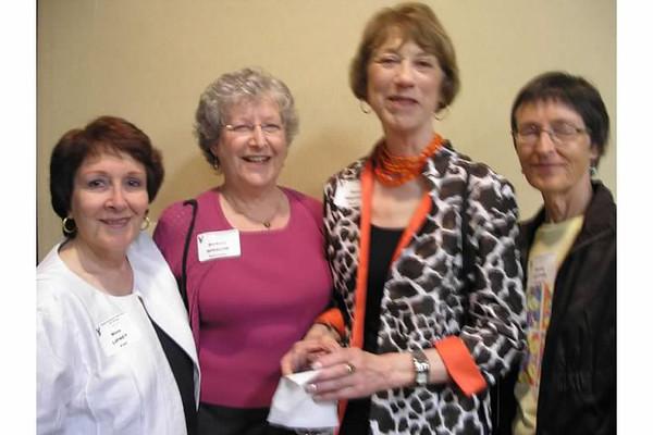 (l-r) Nina (Lipney) Pohl, Barbara (Winslow) Schechner,  , Sandy (Potter) Lundgren