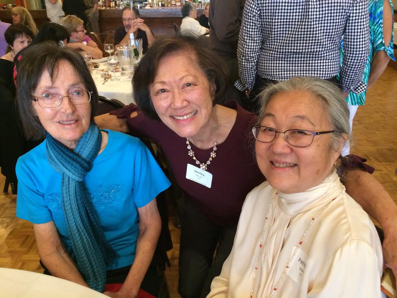 (l-r) Sandy (Potter) Lundgren - S'57, Shirley (Chu) Yee - S'57, Patricia Oyama - S'57