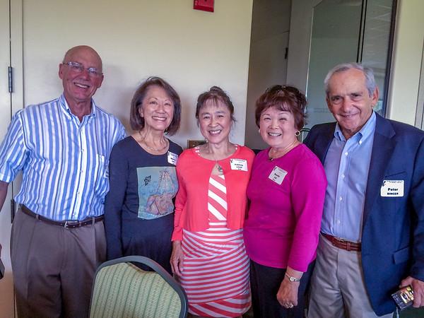 (l-r) Dr. Newton Harband, Shirley (Chu) Yee, Patricia (Louie) Seid,  Brenda Jue Chinn  Dr. Peter Singer