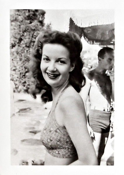 Young Woman at Beach with Big Smile and Sunburned Shoulders, c. 1940s. Gelatin Silver Print Snapshot