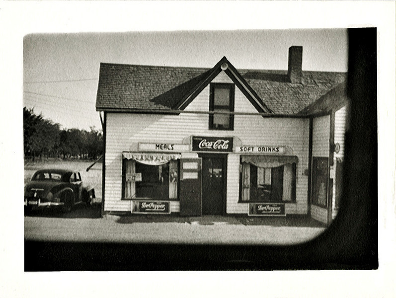 Roadside Store from Bus Window, Southern US, c. 1940s. Gelatin Silver Print Snapshot