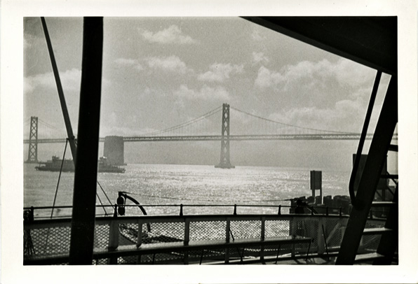 Ferry Crossing, San Francisco Oakland Bay Bridge in the Distance, c. 1940s. Gelatin Silver Print Snapshot