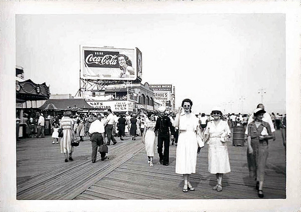 On the Cony Island Boardwalk, c. 1940s. Gelatin Silver Print Snapshot