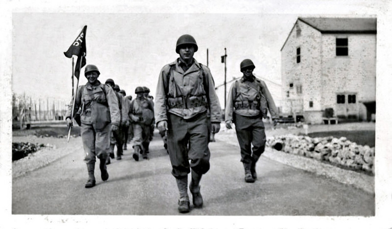 """US Invasion Forces, D-Day, Normandy, France. Gelatin Silver Print Snapshot. Hand written on verso: """"Art looking  very impressive and victorious - invasion-troop-ish."""""""
