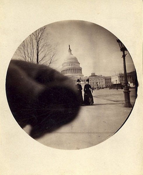 U S Capitol Building with Hand Over Lens, c. 1890. Albumen Print from #2 Kodak Camera