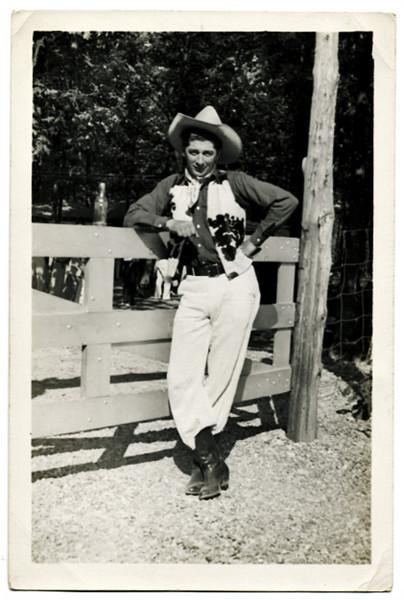 """Cowboy Tex Fletcher, 1938.  Gelatin Silver Print Snapshot. Handwritten on verso:""""Tex Fletcher taken at C Bar C ranch in 1938,"""""""