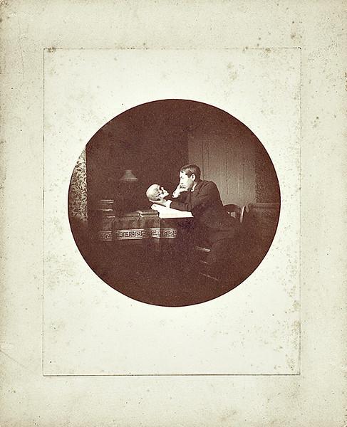Young Man Contemplating Skull, c. 1890. #1 Kodak Albumen Print Mounted on Card