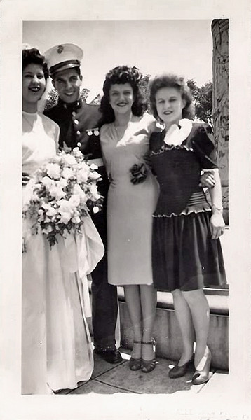 Marine Corps Wedding Party, c. 1940s. Gelatin Silver Print Snapshot.