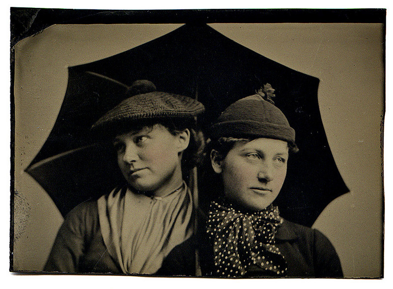 Sisters, c. 1890. Hand Tinted Tintype