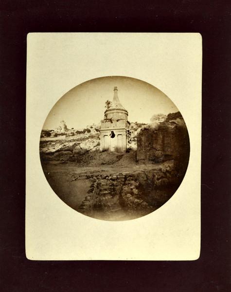 Tomb of Absalom, Jerusalem, c. 1888. #1 Kodak Albumen Print Mounted on Card