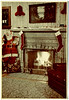 Christmas Fireplace with Life Size Coca Cola Santa, 1950. Kodacolor Print Snapshot