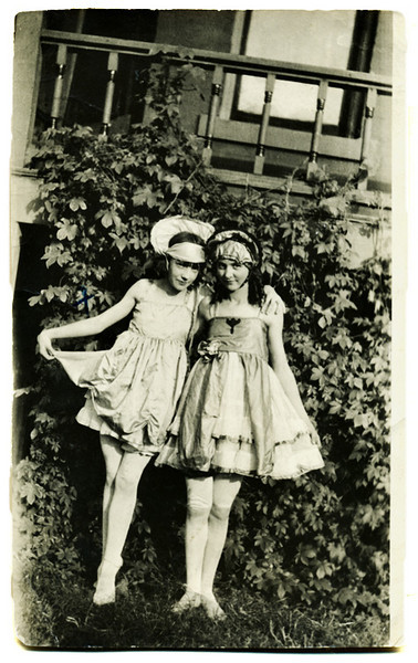 """Fern Lisen & Mabel Moss Dancing Partners,"" c. 1915. Gelatin Silver Print Snapshot. Handwritten identification in ink on verso."