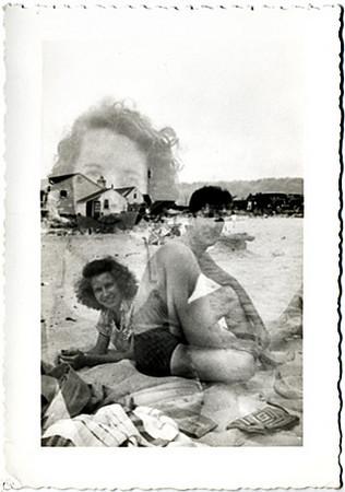 Couple on Beach Double Exposure, c. 1950s.  Gelatin Silver Print Snapshot