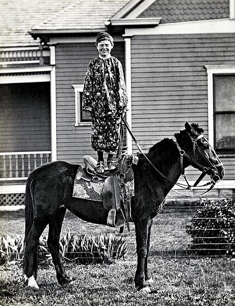 """""""A little clown,"""" Dorrance, Kansas, c. 1920. Gelatin Silver Print Snapshot"""