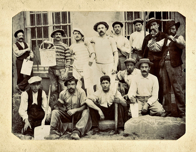 Italian Masonry Workers, c. 1900. Early Gelatin Silver Print Snapshot Mounted on Card
