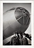 Airmen and B29 Superfortress Bomber, c. 1945. Gelatin Silver Print Snapshot
