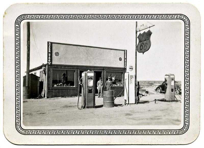 Phillips 66 Gas Station, San Antonio, TX, 1946. Gelatin Silver Print Snapshot