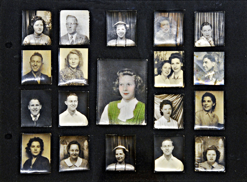 Album Page of Photo Booth Photos, c. 1940s. Gelatin Silver Prints.