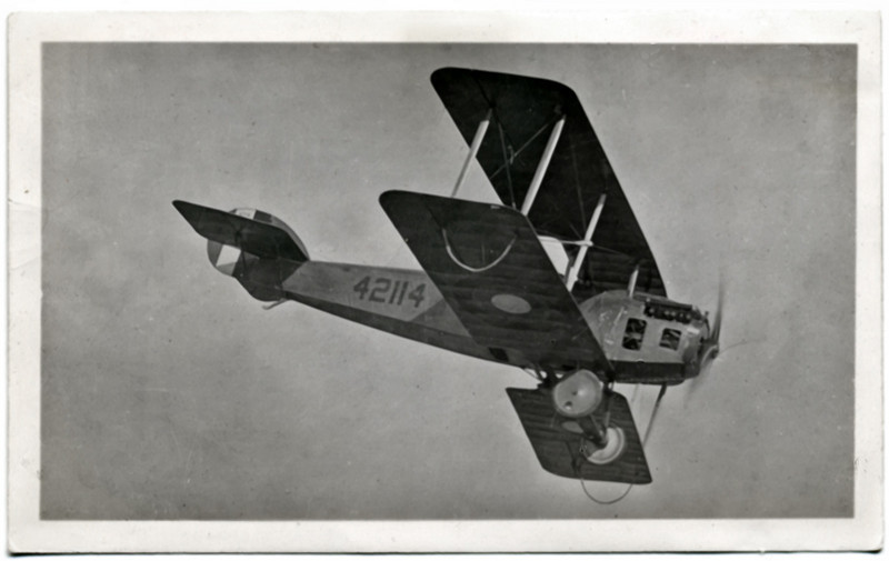 "Close-up of Curtis ""Jenny"" E-4 Trainer in Flight, c. 1918. Gelatin Silver Print Snapshot"