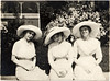 Three Young Women in White Dresses and Large Hats, c. 1916. Gelatin Silver Print Snapshot