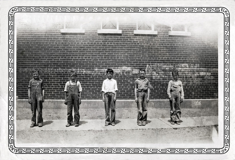 Five Scruffy Young Boys in Formation, c. 1920s. Gelatin Silver Print Snapshot