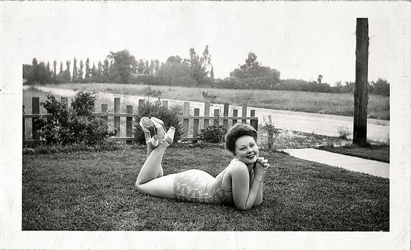 Backyard Bathing Beauty, c. 1940s. Gelatin Silver Print Snapshot