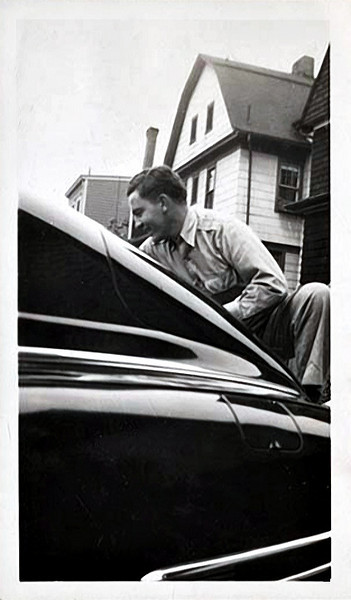 Man Polishing His Brand New 1946 Chevy Fleetline Aero, Bellville, NJ 1945. Gelatin Silver Print Snapshot