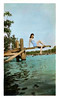 Woman on Diving Board at Lake, c. 1930s. Hand-tinted Gelatin Silver Print Snapshot