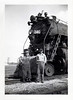 Steam Locomotive 240 and Engineers, 1949. Gelatin Silver Print Snapshot