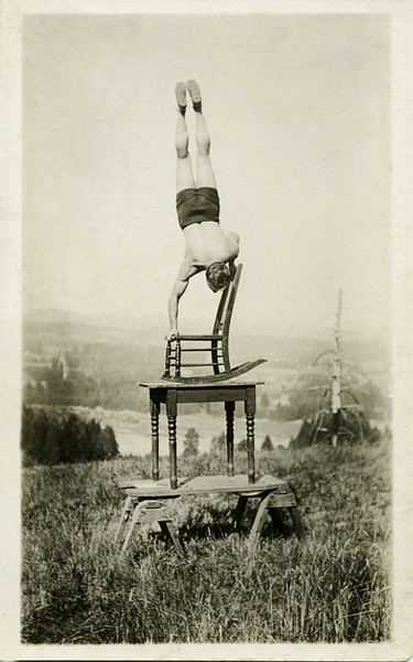 Balancing Act, c. 1925. Real Photo Post Card