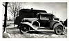 Model A Ford in Snow, c. 1930s. Gelatin Silver Print Snapshot