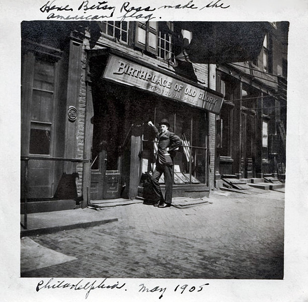 "Betsy Ross House, Philadelphia, PA 1905. Gelatin Silver Print Snapshot. Hand written on top and bottom of border: ""Here Betsy Ross made the American flag. Philadelphia. May 1905"""