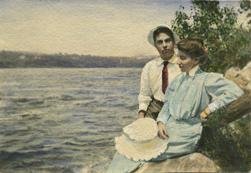 Courting at Water's Edge, c. 1890s. Hand Colored Platinum Print Snapshot