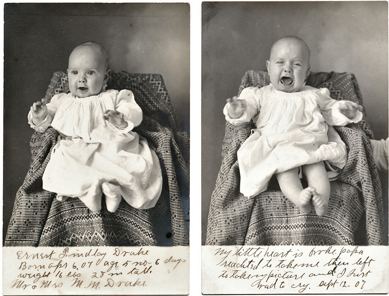 Baby Ernest Findlay Drake, Happy and Otherwise, 1907. Real Photo Post Cards