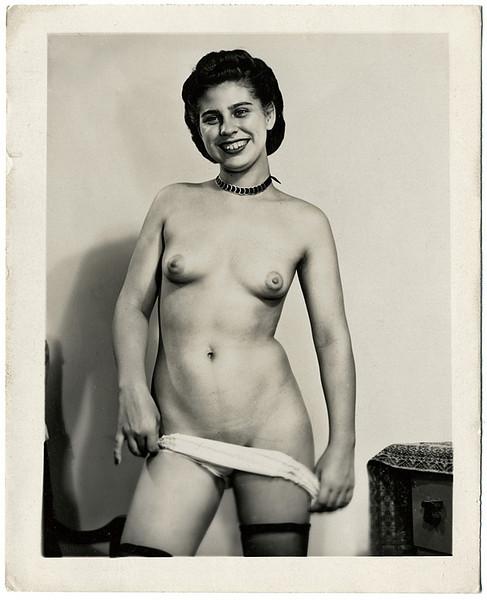 Cheerful Young Stripper, c. 1920. Gelatin Silver Print Snapshot