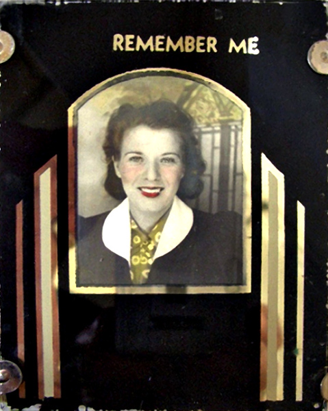 """Remember Me,"" c. 1930s. Hand-colored Photo Booth Print in Art Deco Glass Frame. 1940s. Gelatin Silver Print."
