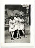 Three Waitresses Outside a Drug Store, c. 1940s. Gelatin Silver Print Snapshot