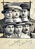 French Criminals, c. 1920s. Photo Collage with Black Watercolor and White Guache for Newspaper Reproduction. 6 Small Cut-out Gelatin Silver Prints Mounted on Card.