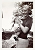 Pleased Young Mother with Happy Baby Girl, 1938. Gelatin Silver Print Snapshot