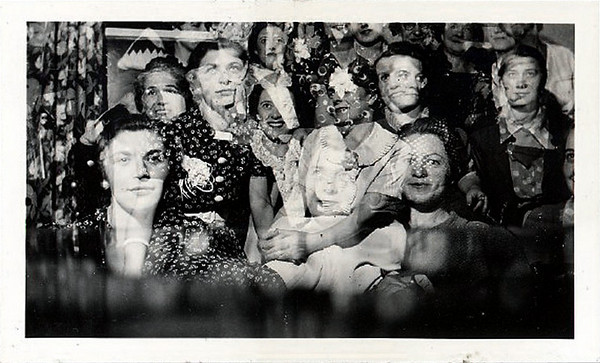 "Multiple Exposure of Faces, c. 1940s. Gelatin Silver Print Snapshot. (Note from the person who sold me this snapshot: ""The photo was taken at the home of a woman named Isabelle, who lived in Berkeley. She was throwing a bridal shower for a friend... that's why all the faces are women's."")"