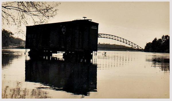 Flood Scene, Nashua, NH, 1939. Gelatin Silver Print Snapshot.