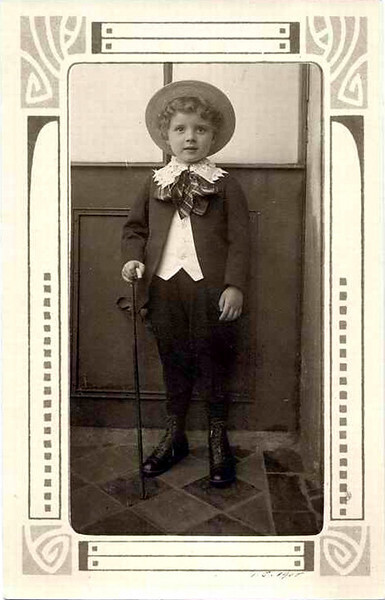 Rienecker-Bohling Family Photo, Berlin. Boy with Hat and Cane, 1910. Real Photo Post Card with Art Nouveau Border