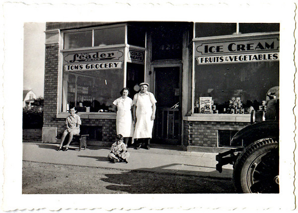 Tom's Grocery, c. 1920s. Gelatin Silver Print Snapshot