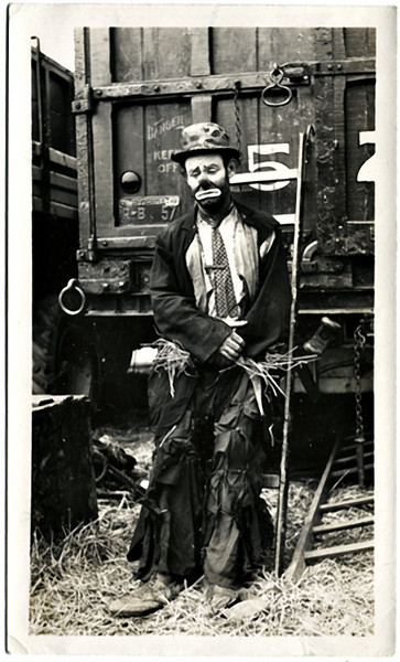 Robert D. Good, Allentown, PA. Emmett Kelly, Ringling Brothers Barnum and Baily Circus, 1943. Gelatin Silver Print Snapshot. Photographer's stamp on verso; signed and dated in ink on verso by Kelly.