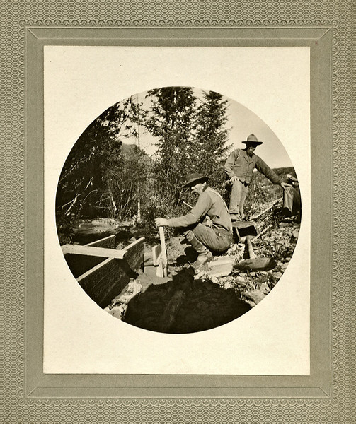 Panning for Gold, c. 1890s. #2 Kodak Albumen Print Mounted on Card